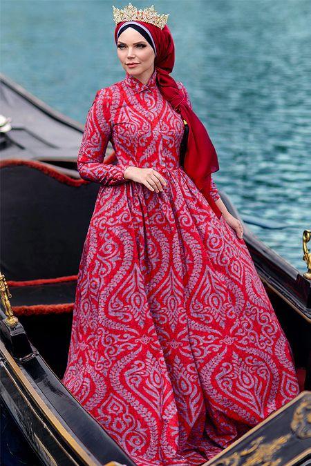 5637a5b686017 Muslima Wear Kırmızı Diana Abiye Elbise | Fashion Inspirational Post ...