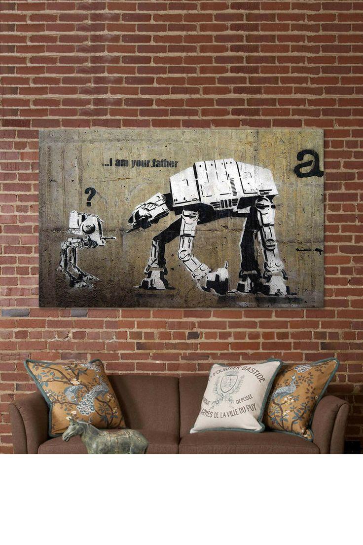 Banksy AT-AT art on canvas.: Graffiti, Stars, Street Art, Star Wars, Banksy, I Am, Father, Streetart, Starwars