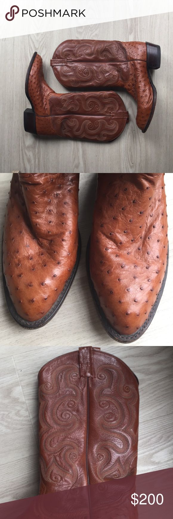 Authentic Tony Lama cowboy boots for men, size 10 Authentic Tony Lama cowboy boots. Still in great condition. Ostrich skin. Typically retails for $480-$500 Tony Lama Shoes Cowboy & Western Boots