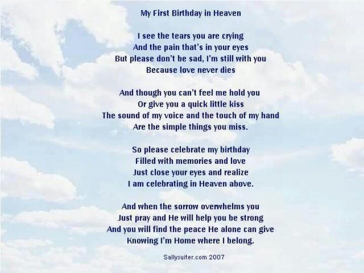 Birthday poems birthday in heaven and heavens on pinterest