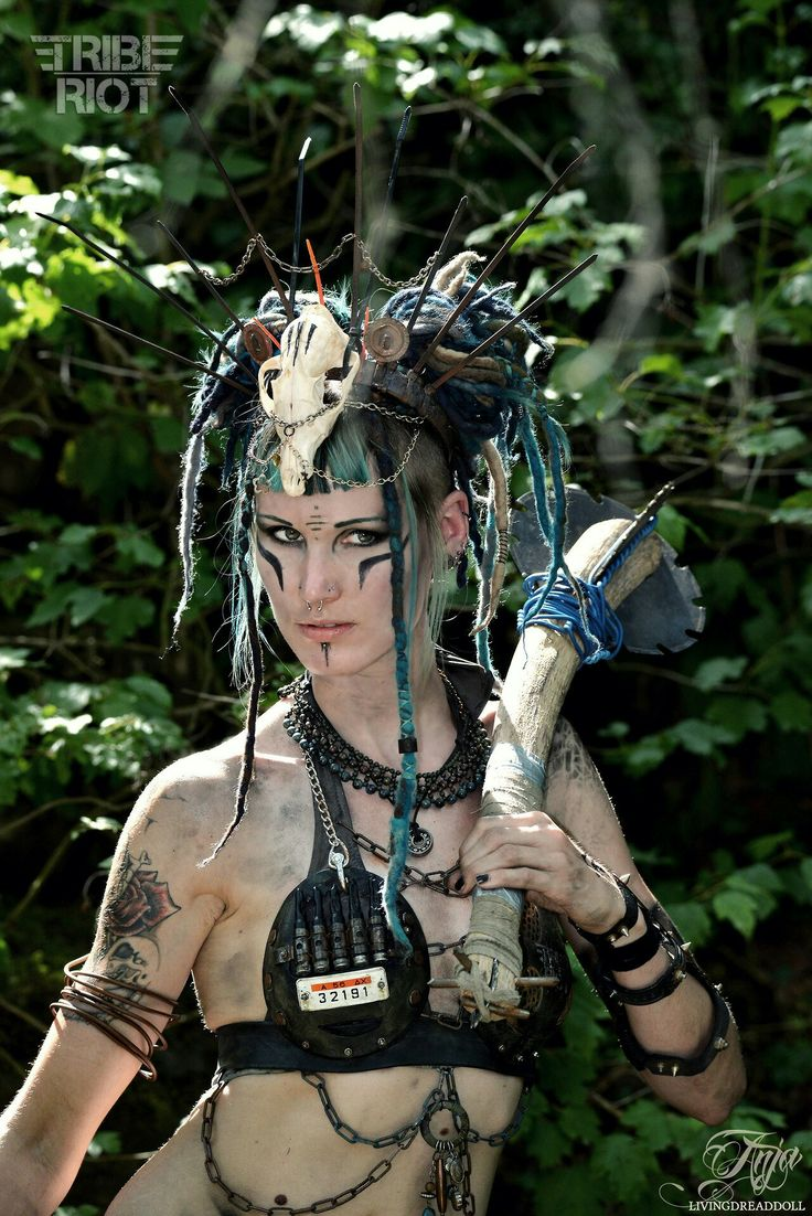 Post Apocalypse  TRIBE RIOT   LivingDreadDoll #Wasteland #Post #Apocalyptic #apocalypse #Tribal #Warrior #raider #warriors #wanderer #Mad #Max #war #paint #make-up #female #waterworld #rioter #goth #distressed #kneepad #belt #top #trouser #pants #outfit #costume #cosplay #oldtown #time #traveller #dirty #girl #dirt #dieselpunk #fierce #gear #spikes #skull #rust #chain #armor #Anja #Livingdreaddoll #model #lifestyle #hair #inspiration #diy #fashion #dystopian #scifi #larp #twd #Tribe #Riot…