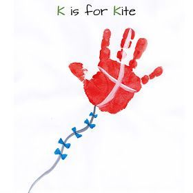 We made this for Owen's daycare provider. 'Soaring' to new levels of learning!   Also we used fingerprints to make the bows on the kite string. We didn't do k is for kite.      Mommy Minutes: ABC Handprint #Kites