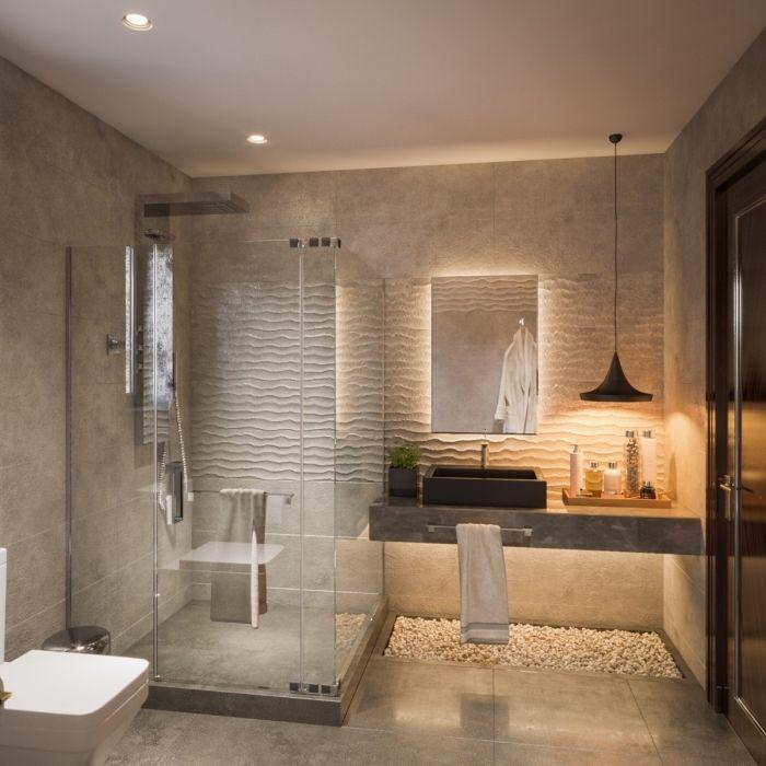 Badezimmer Gestaltungsideen 3d Wandpaneel Spiegel Mit Led Beleuchtung Duschkabine Kleines Bad Modernes Badezimmerdesign Glas Badezimmer Badezimmer Design