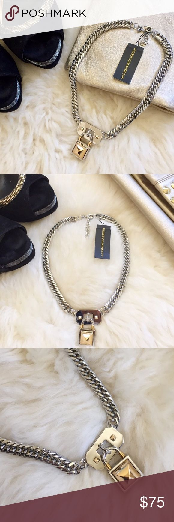 """Rebecca Minkoff Pyramid Lock Charm Chain Necklace New with tags- Silver tone curb chain necklace with two tone Pyramid stud accented Lock pendant and lobster clasp. Length 16"""" with 2"""" extension, Pendant length 1 3/8"""". Made of brass. Will come in jewelry pouch. Rebecca Minkoff Jewelry Necklaces"""