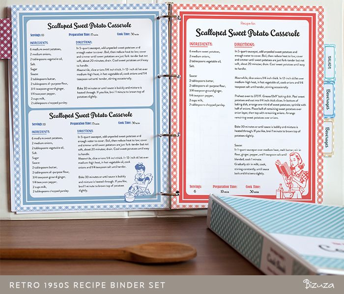 printable recipe binder set retro 1950s style printable bizuza