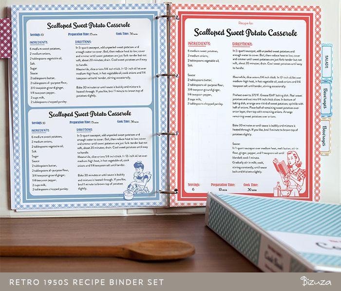 Printable Recipe Binder Set, Retro 1950s style | Printable | Bizuza Printables