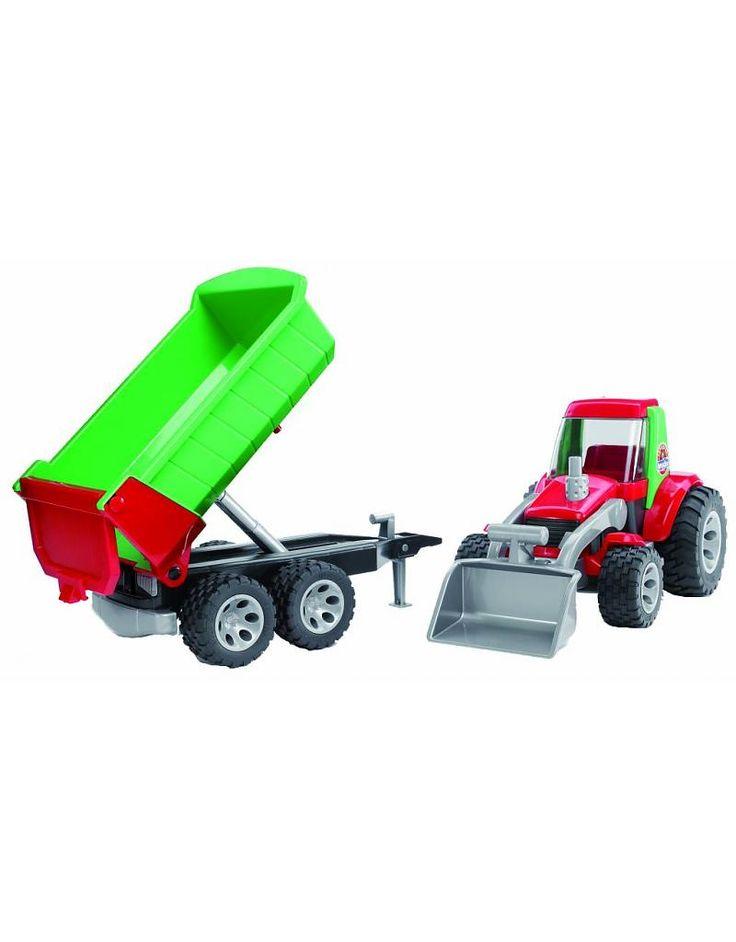 Roadmax Bruder Roadmax tractor met voorlader en aanhanger
