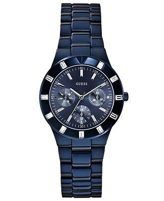 GUESS Women's Blue-Tone Stainless Steel Bracelet Watch 36mm U0027L3 - Women's Watches - Jewelry  Watches - Macy's - ball watches, oris watches, nice cheap watches for men *sponsored https://www.pinterest.com/watches_watch/ https://www.pinterest.com/explore/watch/ https://www.pinterest.com/watches_watch/ice-watch/ http://www.tiffany.com/watches