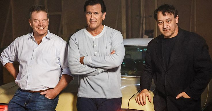 'Ash Vs Evil Dead' Begins Shooting, First Photo Revealed! -- Sam Raimi, Rob Tapert and Bruce Campbell gather around the classic 1973 Oldsmobile as production begins on Starz' 'Ash Vs Evil Dead'. -- http://www.tvweb.com/news/ash-vs-evil-dead-starz-photo-production-start