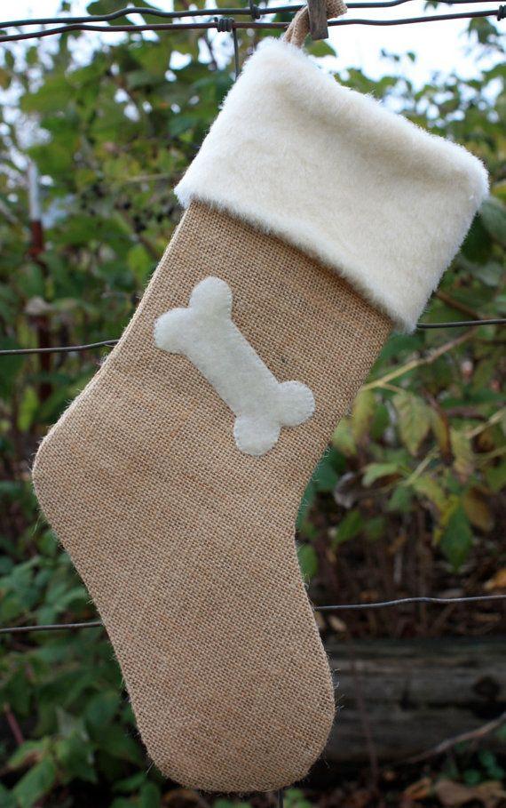 ETSY ~ Burlap Christmas Stocking- Burlap and Bone for Dog