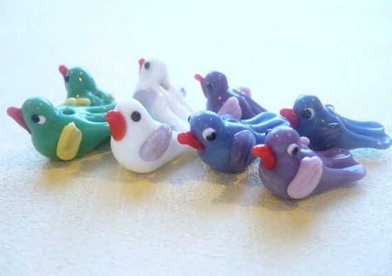 14 pcs Lampwork Bird Beads Whimsical Bird Glass by LynnetteJewelry, $16.00