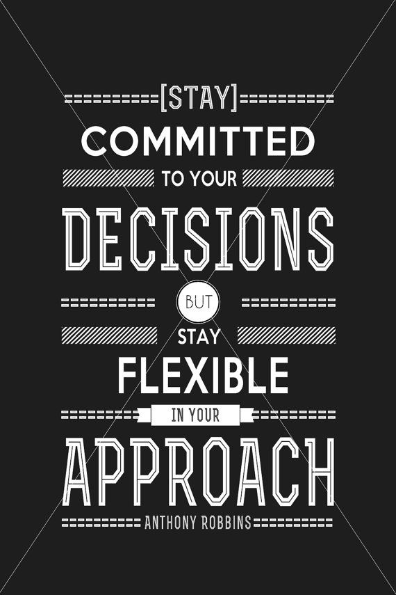 Typography Poster Digital, Stay Committed to Your Decision, Anthony Robbins, motivation quote, typography poster, inspirational quote