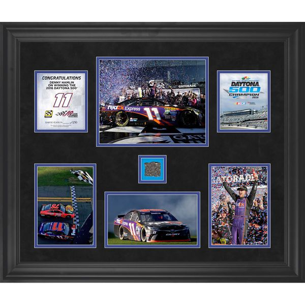 "Denny Hamlin Fanatics Authentic Framed 20"" x 24"" 2016 Daytona 500 Champion Collage with Track - Limited Edition of 250 - $149.99"