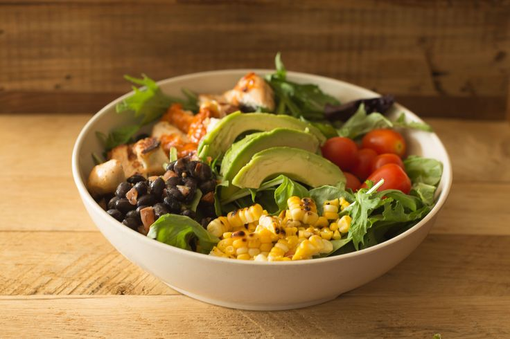 b.good's Southwestern Chicken Salad - mesclun, avocado, grilled corn, tomatoes, black beans, toasted corn, chipotle puree, balsamic vinaigrette - a Family Favorite!
