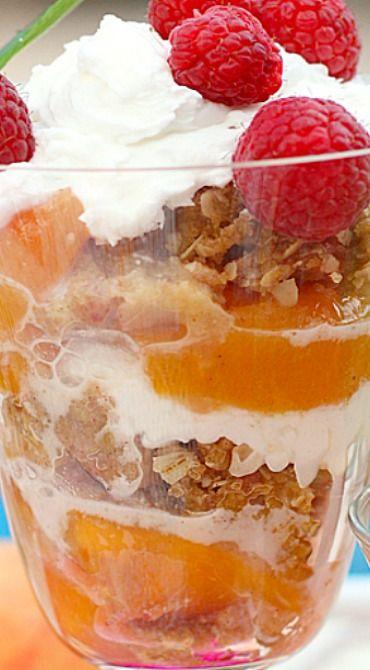 Peach & Raspberry Crisp Parfaits