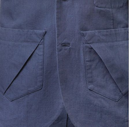 interesting pocket detail...and bound buttonholes in a denim jacket!