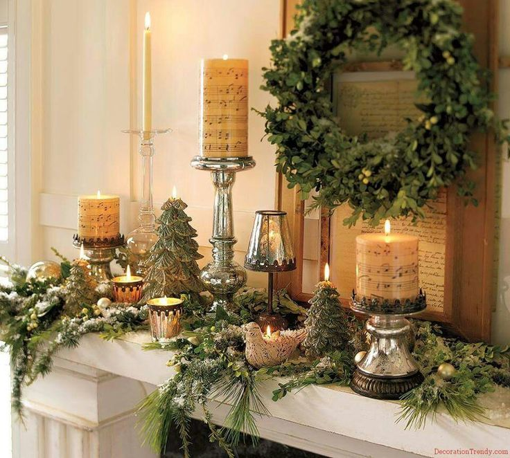 Christmas Script Candles with Evergreens for Mantel