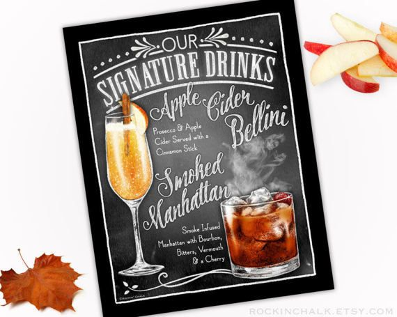 Fall Autumn Wedding Decoration  Signature Drink Sign  DUAL