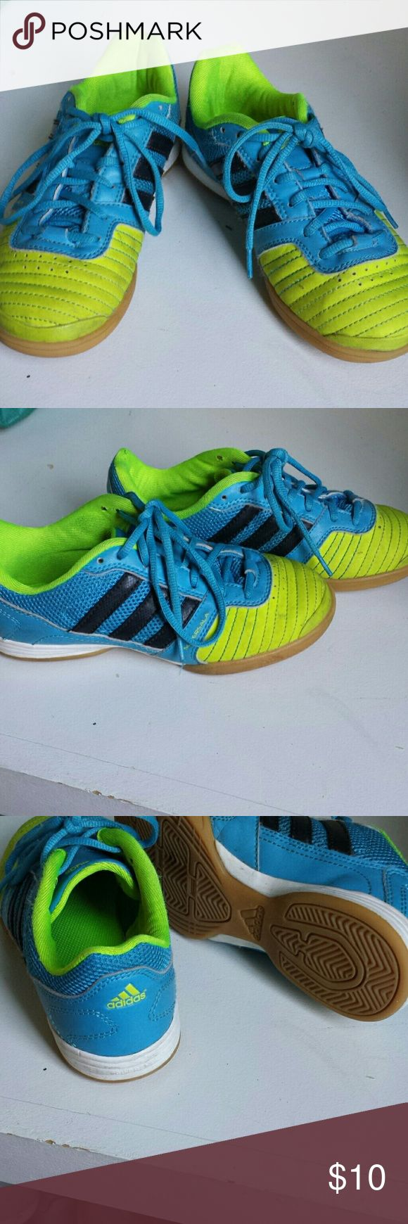 Adidas indoor soccer shoes, size 1 Aqua and neon Adidas indoor soccer shoes, size 1 adidas Shoes Sneakers