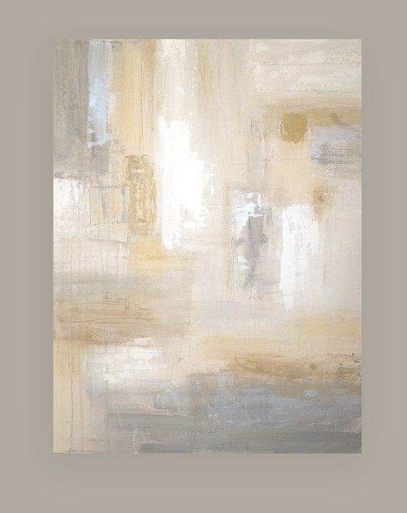 "RESERVED. Shabby Chic Original Painting Abstract Acrylic Art Titled: White Sands 6 36x48x1.5"" by Ora Birenbaum"