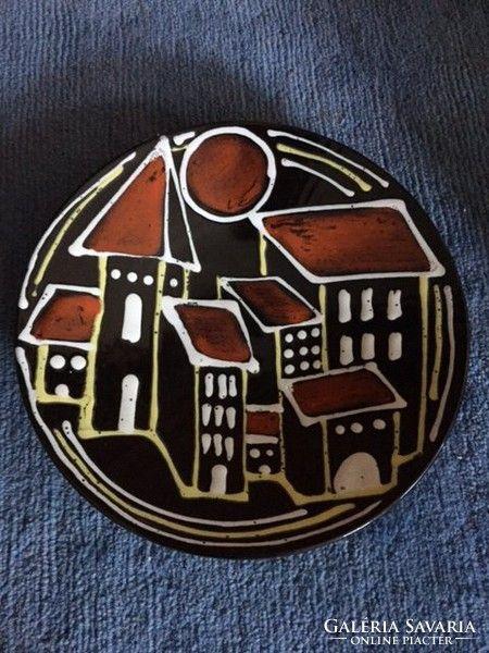 Iparművészeti, jelzett kerámia falitál-Reguly ceramic bowl