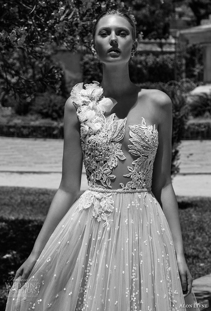 alon livne 2017 bridal sleeveless one shoulder heavily embroidered bodice romantic sexy a  line wedding dress sweep train (flora) zv