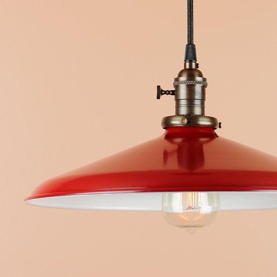 "Pendant Lighting w/ 14"" RED Porcelain Enamel Finish - Industrial Lamp - Vintage Style Lighting on Etsy, $191.21"