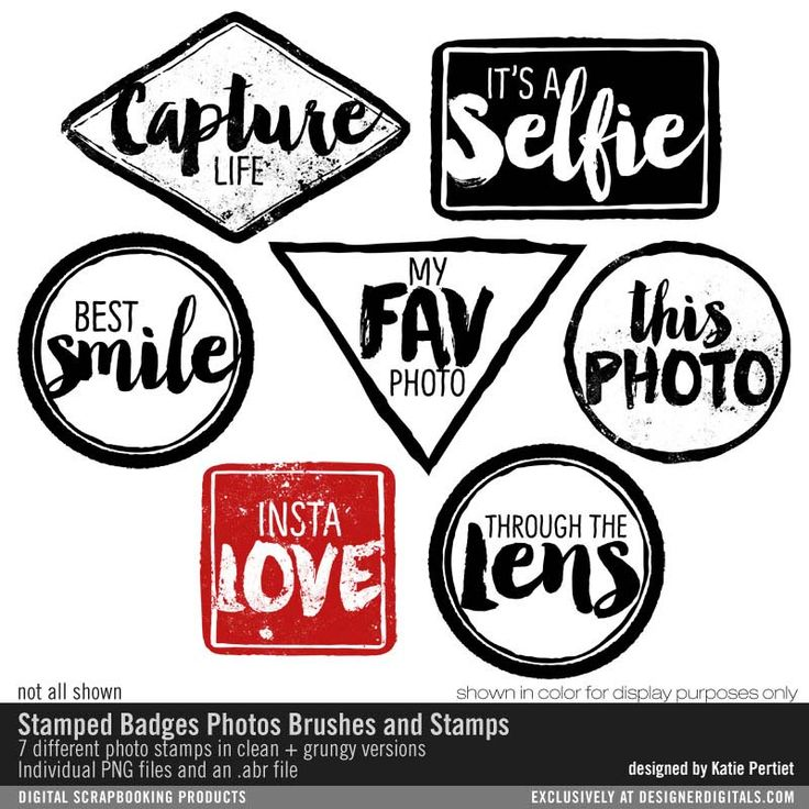 Stamped Badges Photos Brushes and Stamps- Katie Pertiet Brushes- DS930902- DesignerDigitals