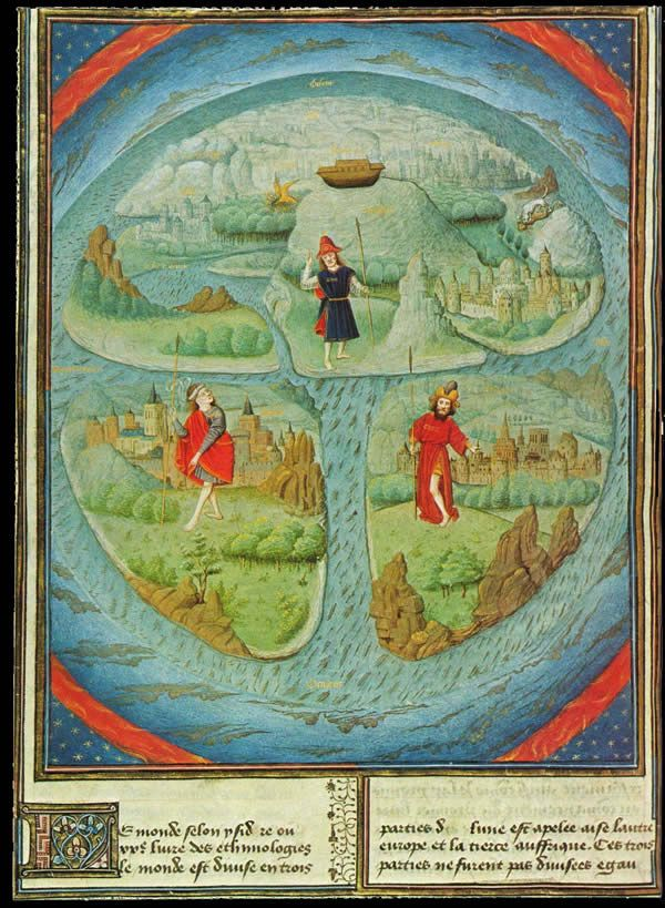 T-O world map based on the medieval world view of the Spanish Archbishop Isidore of Seville (c. 560-636), published between 1459-1463 in La Fleur des Histoires by Jean Mansel.