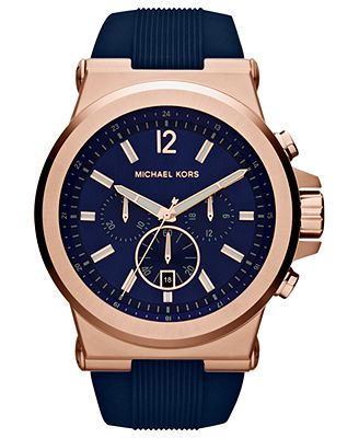 Michael Kors Men's Chronograph Dylan Navy Silicone Strap Watch 48mm MK8295