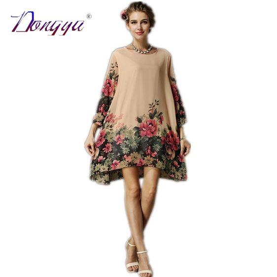 Aliexpress.com: Acheter Xxl Plus Size vêtements pour femmes New mode en mousseline de soie couleur d'été imprimé de fleurs robe courte de fête décontractée Shift 2015 Roupas Femininas de 2015 toner fiable fournisseurs sur Guangdong dongya trade co., LTD