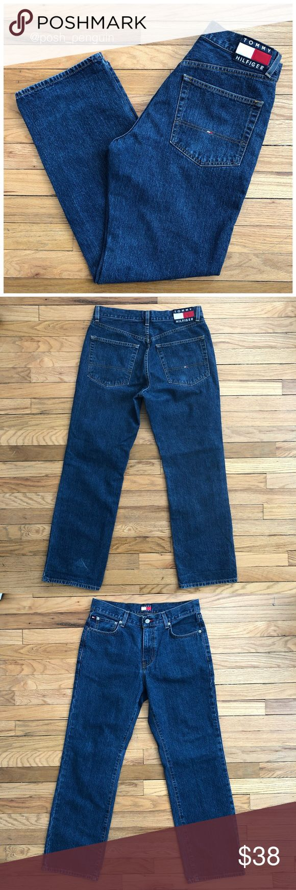 Vintage Tommy Hilfiger Spell out jeans 30x30 Grab a classic pair of vintage Tommy Hilfiger Jeans.  These jeans are in great shape for there age and have no major flaws or defects.  Red and white Tommy Hilfiger patch on the back with the brand name spelled out on back.  There is a sleight fade to back left leg as pictured. Tommy Hilfiger Jeans Straight