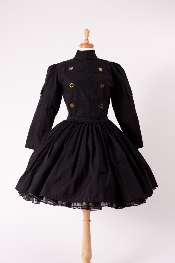 Steampunk Dress Military Lolita Gothic Dress Black with Gears Custom Size Made to Measure including Plus Sizes by MGDclothing on Etsy https://www.etsy.com/listing/160102014/steampunk-dress-military-lolita-gothic