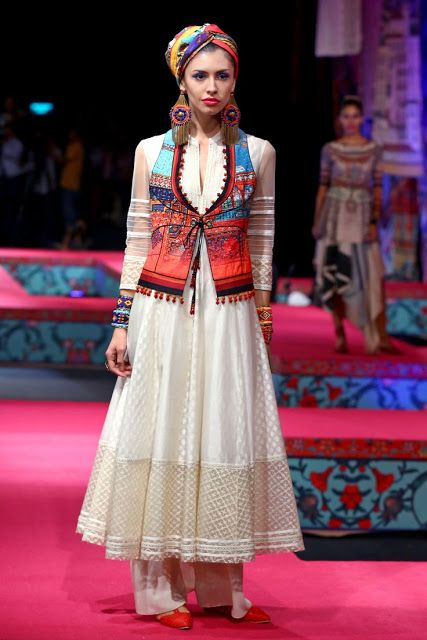 Z Fashion Trend: WHITE WITH COLOURFUL JACKET PARTY WEAR ANARKALI