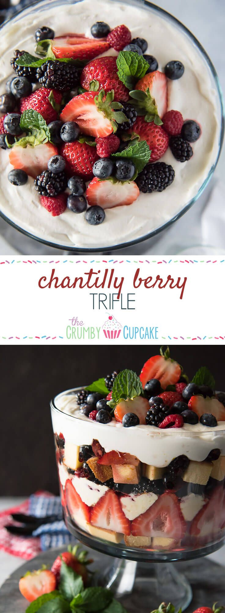 This Chantilly Berry Trifle is a real crowd pleaser! Pound cake, cheesecake filling, whipped cream, and berries marinated in raspberry liqueur make up the layers of this dessert, which is almost too pretty to eat! #SundaySupper