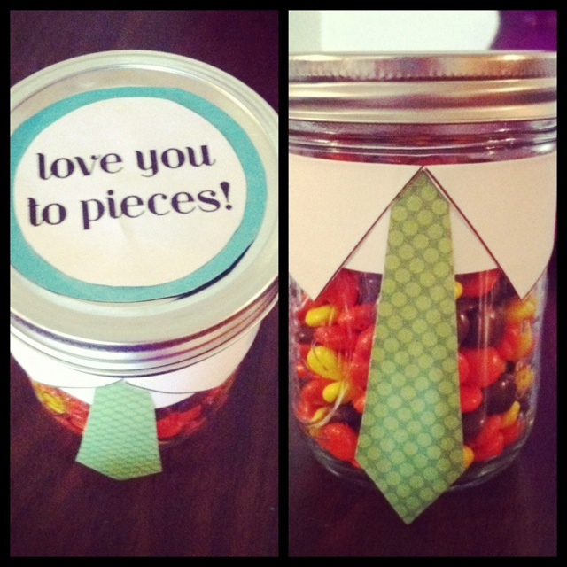 Reese's pieces plus mason jar = <3
