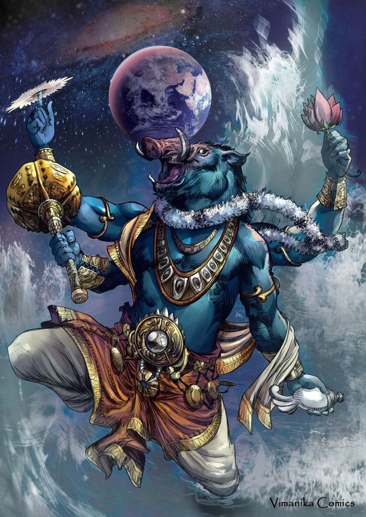 Varaha- Hindu myth: a boar headed avatar of Vishnu that dived into the ocean to save the earth after a demon had put it on the bottom of the ocean. He lifted the earth up on his tusks and back into the sky.