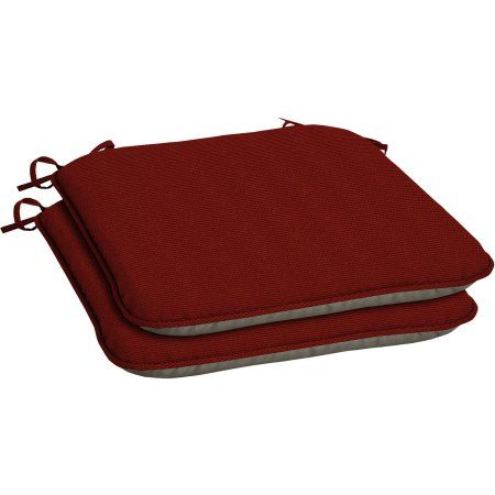 Arden Outdoors Snap Dry Fast-Drying Outdoor Seat Pad with Welt, Set of Two, Red Rib Woven