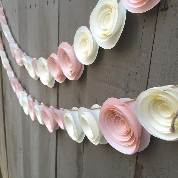 Paper Flower Garland Pink & Cream white for Wedding Reception Bridal Shower…