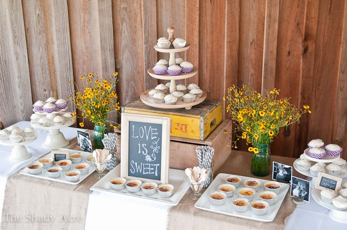 "Cute idea for dessert table at an anniversary party or shower....chalkboard ""Love is Sweet"" sign"