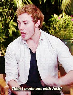 """Also, and perhaps most important of all, SAM MADE OUT WITH JOSH HUTCHERSON, A.K.A. PEETA, A.K.A. THEY MADE OUT. 