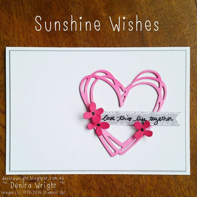 'Sunshine Wishes' for this Weeks 'Colour Challenge' Global Design Project #gdp045 Made by Denita Wright Independent Stampin' Up! Demonstrator Australia