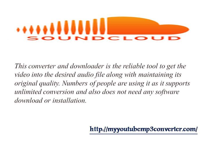 Best SoundCloud to MP3 Converter online in USA  Listening music on SoundCloud is a great experience for the music lover. But if you also want to save the audio song in your device, then there is an easy alternative for you. SoundCloud to MP3 Converter online enables you to download and convert audio in a less time and without asking for registration or any charges.