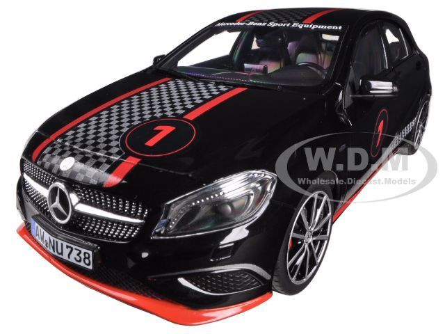 diecastmodelswholesale - 2013 Mercedes A Class Sport Equipment Black with Racing Deco 1/18 Diecast Car Model by Norev, $69.99 (http://www.diecastmodelswholesale.com/2013-mercedes-a-class-sport-equipment-black-with-racing-deco-1-18-diecast-car-model-by-norev/)