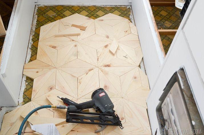 DIY Geometric Wood Floor vintagerevivals.com-20