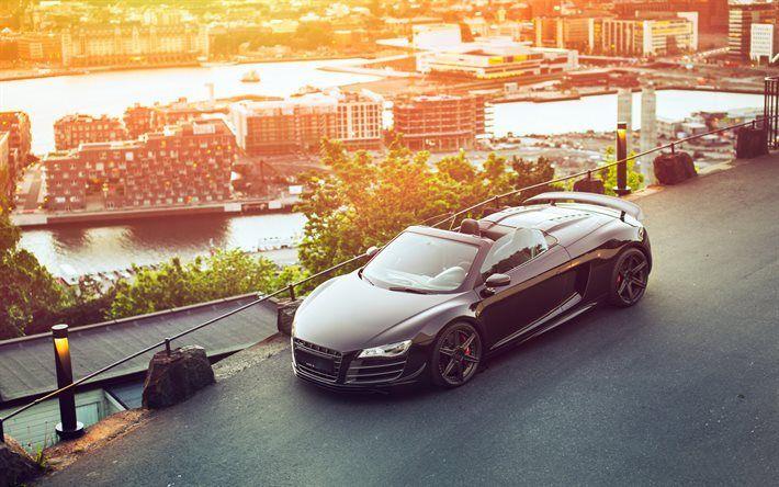 Descargar fondos de pantalla Audi R8 GT Spyder, supercars, negro R8, los coches alemanes, el Audi