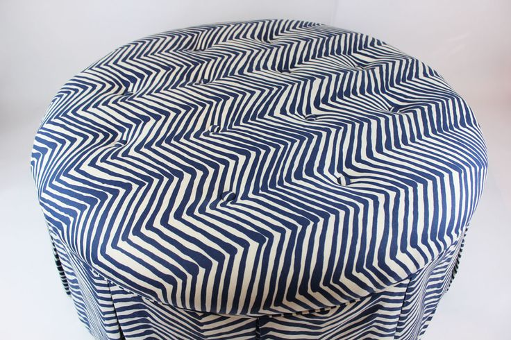 Custom Tufted Ottoman by Lynn Chalk in Quadrille Alan Campbell Zig Zag Navy On Tint