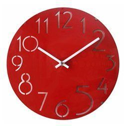 I love the bold and daring look of red wall art.  In fact red home wall art décor is super fun because it is such a bright and playful color.  In addition, red decorative accents make great statement or conversation pieces. #red #redhomedécor   JustNile Non Ticking Silent Curve Glass Wall Clock - 12