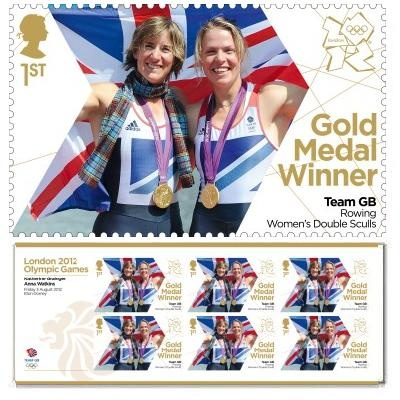 Gold Medal Winner stamp - Katherine Grainger & Anna Watkins, Rowing, Women's Double Sculls
