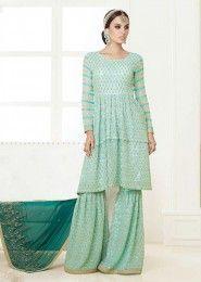 Wedding Wear Green Silk Embroidered Work Anarkali Suit